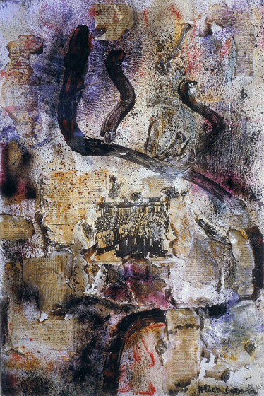 "47x31.5"" collage on canvas, 1984"