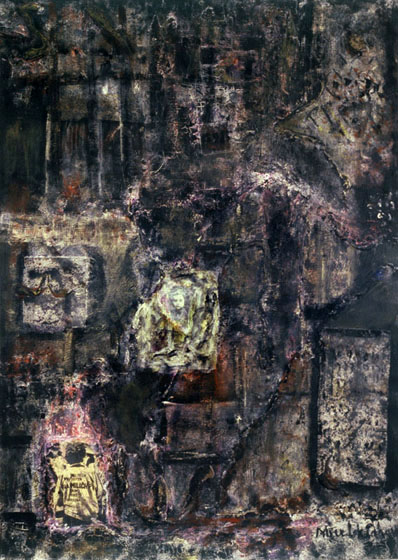 "61x44"" mixed media on canvas, 1991"